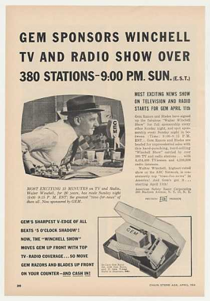 Gem Razor Walter Winchell TV Radio Show Trade (1954)