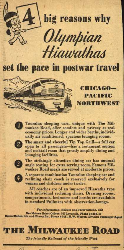 Milwaukee Road – 4 big reasons why Olympian Hiawathas set the pace in postwar travel (1947)
