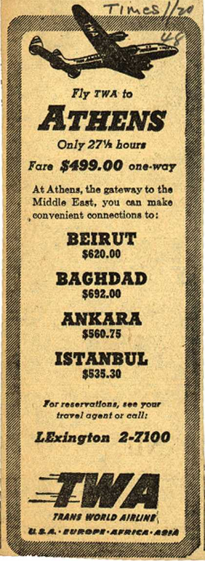 Trans World Airline's Athens – Fly TWA to Athens (1948)