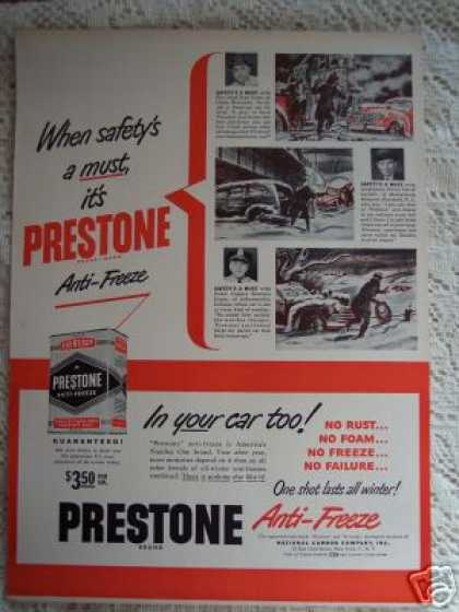 Prestone Anti-freeze Fire Chief Police Art (1948)