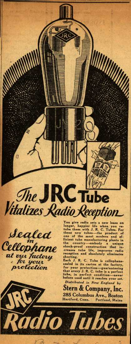Johnsonburg Radio Corporation's Radio Tubes – The JRC Tube Vitalizes Radio Reception (1930)
