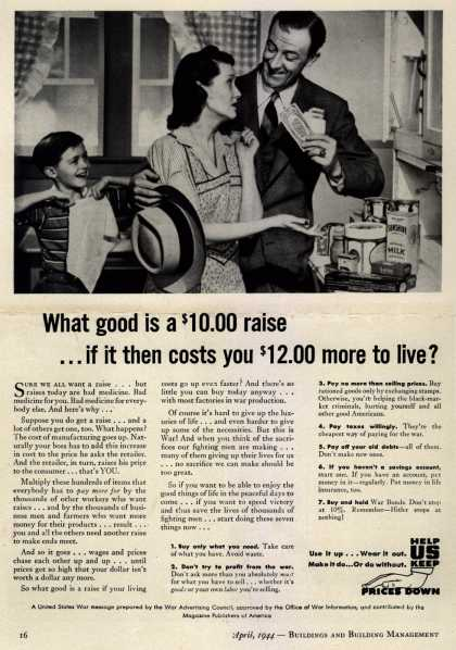 War Advertising Council's Anti-inflation – What good is a $10.00 raise... if it costs you $12.00 more to live? (1944)