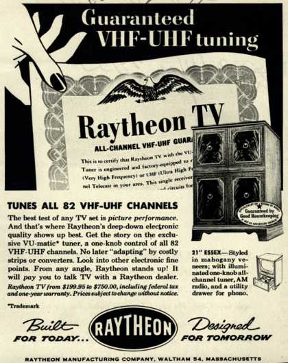 "Raytheon Manufacturing Company's 21"" Essex – Guaranteed VHF-UHF tuning Tunes All 82 VHF-UHF Channels (1953)"
