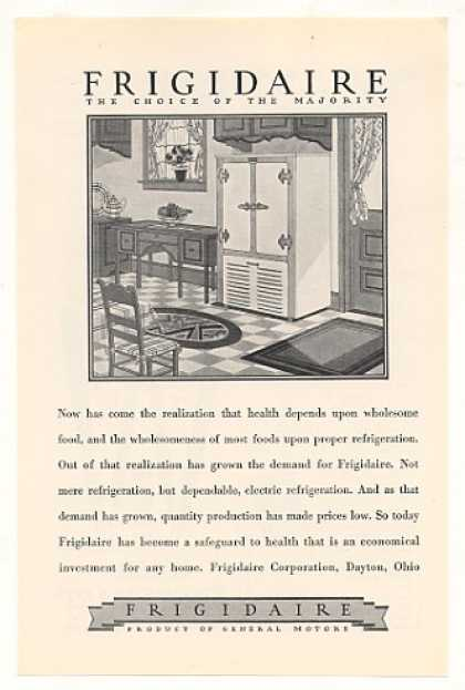 Frigidaire Refrigerator Choice Majority (1928)
