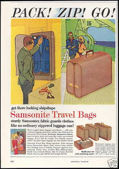Samsonite Travel Bags Luggage Vintage (1960)