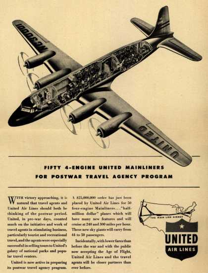 United Air Line's Postwar Travel Agency Programs – Fifty 4-Engine United Mainliners For Postwar Travel Agency Program (1944)
