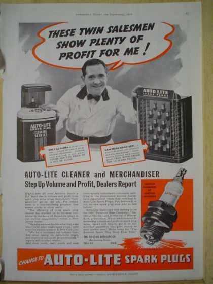Autolite spark plugs. Cleaner and merchandiser dealer ad AND Carter Carburetor Ceramic Fuel filter (1939)