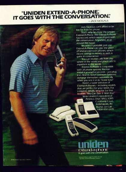 Golfer Jack Nicklaus In Uniden Extend a Phone (1982)