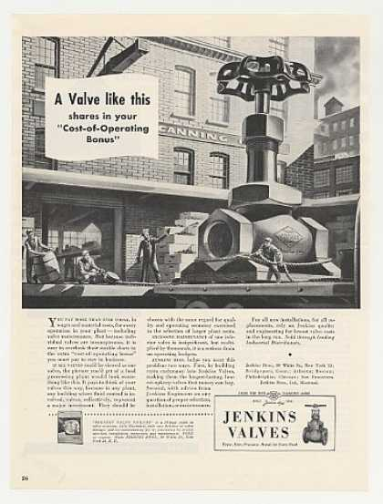 Jenkins Valves Huge Valve art (1949)