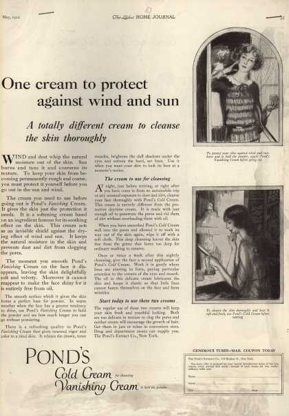 Pond's Extract Co.'s Pond's Cold Cream and Vanishing Cream – One cream to protect against sun and wind (1922)