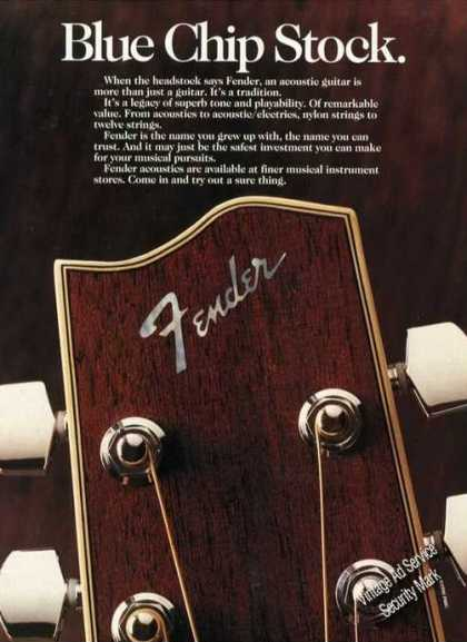 Fender Acoustic Guitar Blue Chip Stock Promo (1990)