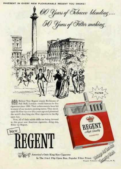 "New Regent ""America's Only King Size Cigarette"" (1956)"