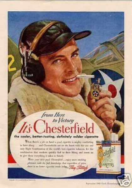 "Chesterfield Cigarettes Ad ""From Here To Victory.. (1942)"