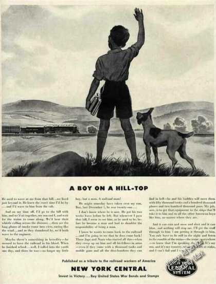 "New York Central ""Boy On a Hill Top"" Wwii (1942)"