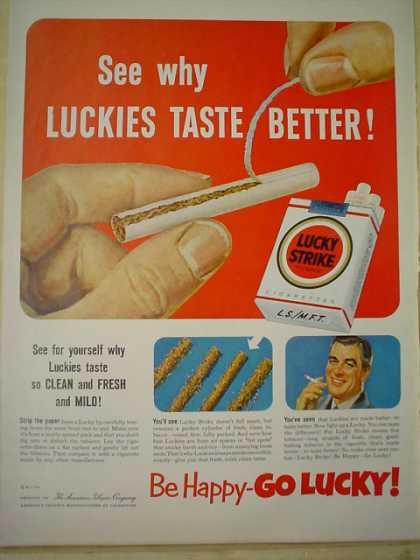 Lucky Strike Cigarettes Taste Better Be Hapy Go Lucky (1952)