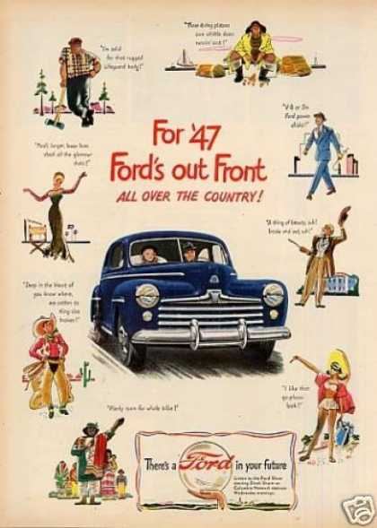"Ford Car Ad ""Out Front All Over the Country... (1947)"