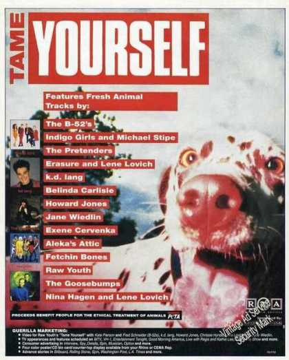 "Peta Promo Ad ""Tame Yourself"" Music Album (1991)"