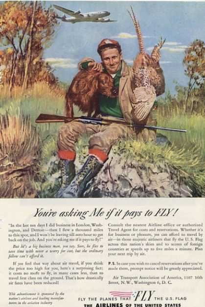 '46 Airlines of the United States Irish Setter Dog Ad T (1946)