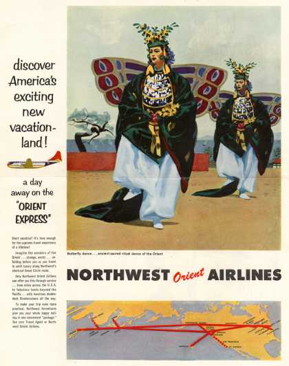 Northwest Orient Airlines – discover America's exciting new vacationland (1954)