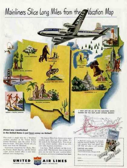 "United Air Lines ""Slice Long Miles"" Routemap (1949)"