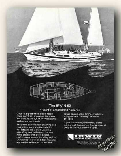 Irwin 52 Yacht Photo Clearwater Fl Boats Promo (1976)