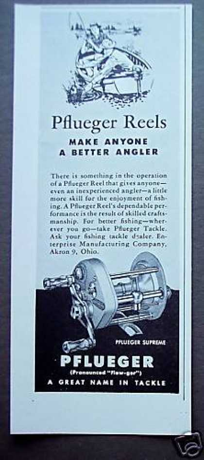 Pflueger Supreme Reels Better Angler Fishing (1949)