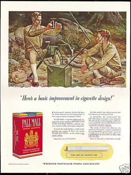 US Army Signal Corps Pall Mall Cigarette Falter (1941)