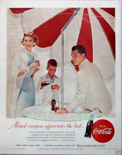 Coca Cola Coke Red White Sun Umbrella Family Table (1955)