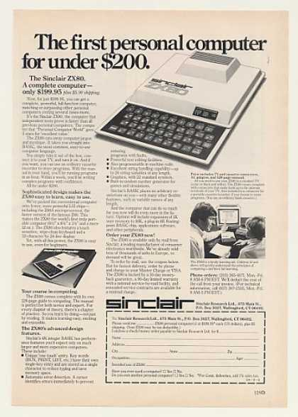 Sinclair ZX80 Personal Computer Under $200 (1980)