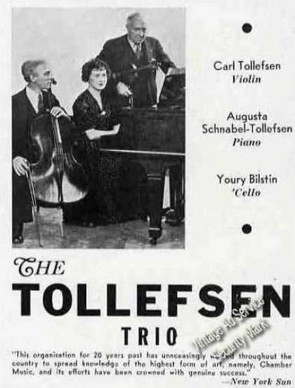 Tollefsen Trio Photo Rare Trade Ad Music (1946)
