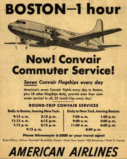 American Airline's Convair Commuter Service – Boston- 1 hour (1948)