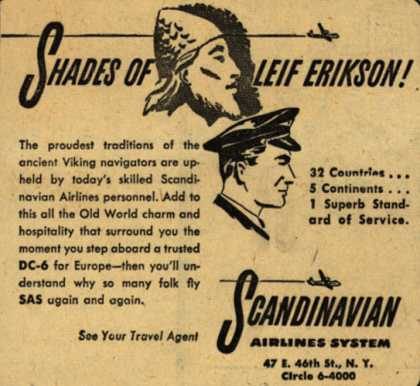 Scandinavian Airlines System – Shades of Leif Erikson (1950)