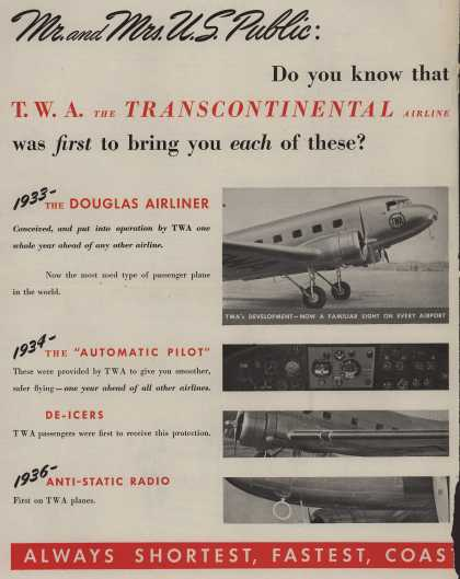 Trans World Airline's History of TWA – Mr. and Mrs. U.S. Public (1940)