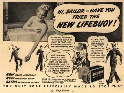 Lever Brothers Company's Lifebuoy Soap – Hi, Sailor – Have You Tried The New Lifebuoy (1946)