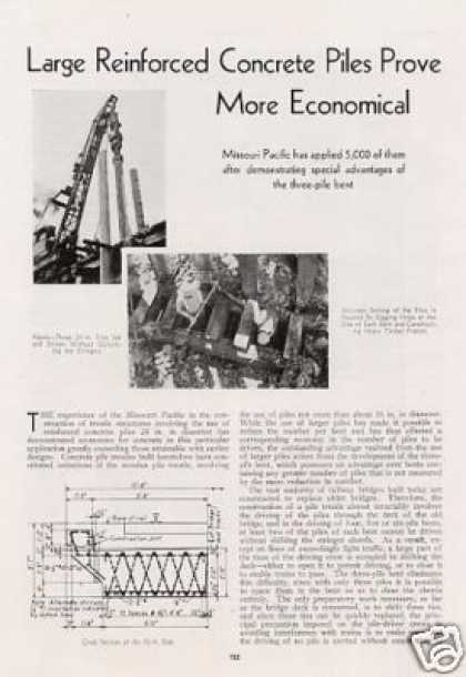 """Large Concrete Piles Prove Economical"" Mopac (1935)"