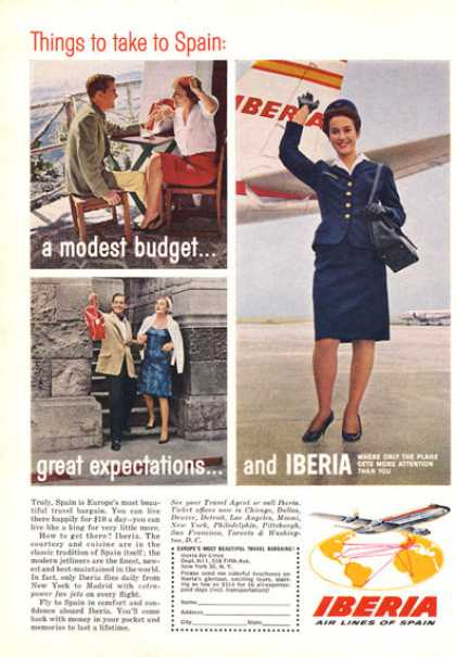 Iberia Airlines Spain Stewardess Plane (1964)