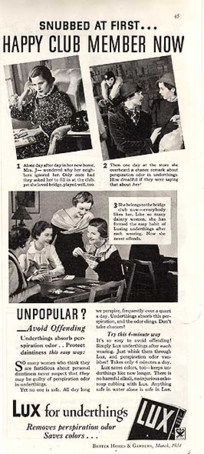 Lux's Perspiration odor in underthings (1934)