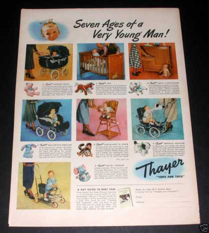 """Thayer Baby Strollers"" Ad, Exc (1949)"