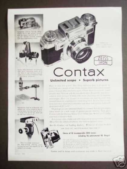 Contax Camera Attachments Zeiss Microscope Ect (1956)