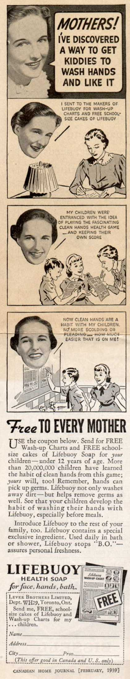 Lever Brothers Ltd.'s Lifebuoy Health Soap – Mothers! I've discovered a way to get kiddies to wash hands and like it (1939)