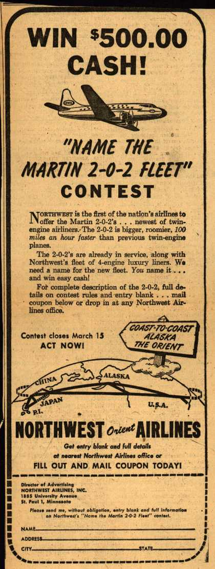 Northwest Airline's Martin 2-0-2 Contest – WIN $500.00 CASH (1948)