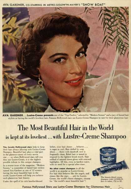 Kay Daumit's Lustre-Creme Shampoo – The Most Beautiful Hair in the World is kept at its loveliest... with Lustre-Creme Shampoo (1951)