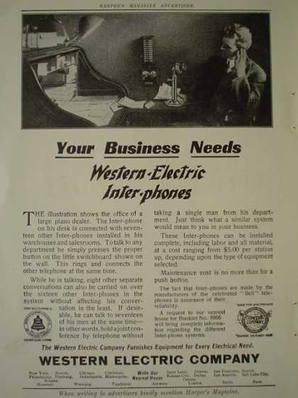 Western Electric Co Telephones AND National Lead Co Plain words from a painter to a homeowner (1910)