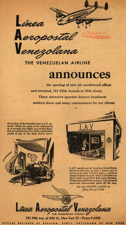 Linea Aeropostal Venezolana- The Venezuelan Airline's new air conditioned offices and terminal – Linea Aeropostal Venezolana The Venezuelan Airline announces (1947)