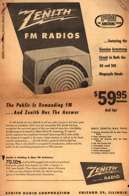 Zenith Radio Corporation's FM Radios – The Public is Demanding FM...And Zenith Has the Answer (1947)