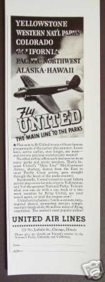 Original United Airlines Air Lines Plane Travel (1936)
