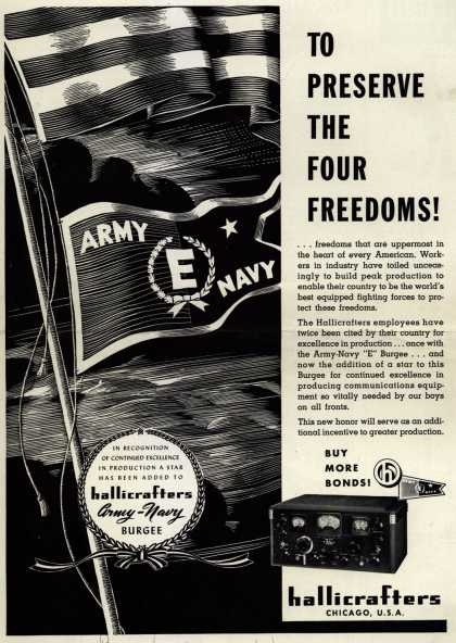 "Hallicrafter's Army Navy ""E"" – To Preserve The Four Freedoms (1943)"