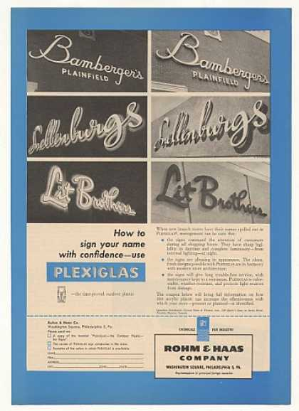 Bamberger's Snellenburgs Rohm & Haas Sign (1955)