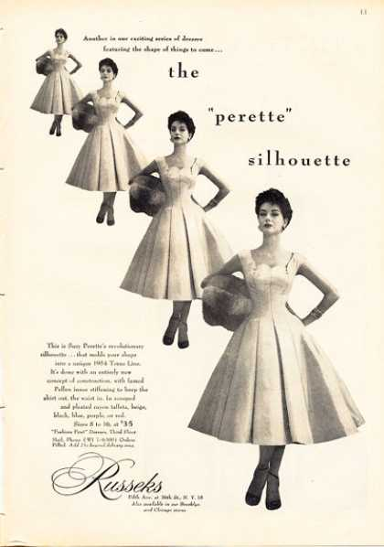 Russeks Perette Silhouette Dress Fashion (1953)