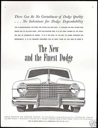 Dodge Car Frontend Vintage Print Art (1942)